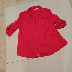 St Johns Bay hot pink button down the front top